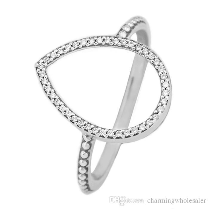 302446d57 Cheap Love Heart Rings 50 S925 Silver Fits for Pandora Style Bracelet Teardrop  Silhouette Ring 196253CZ H8ale Pandora Love Ring Cheap Pandora Rings Pandora  ...
