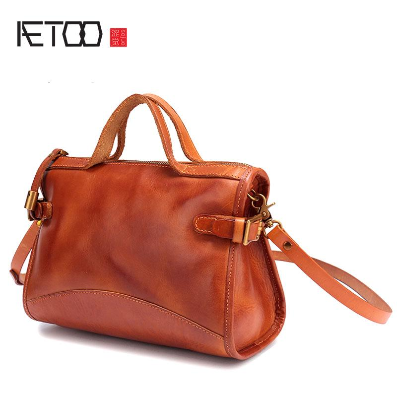 6b0e5619bd3e AETOO Japanese Handmade Vegetable Tanned Leather Handbags Female Baotou  Leather Small Square Package Wild Shoulder Messenger Cross Body Bags  Handbags ...