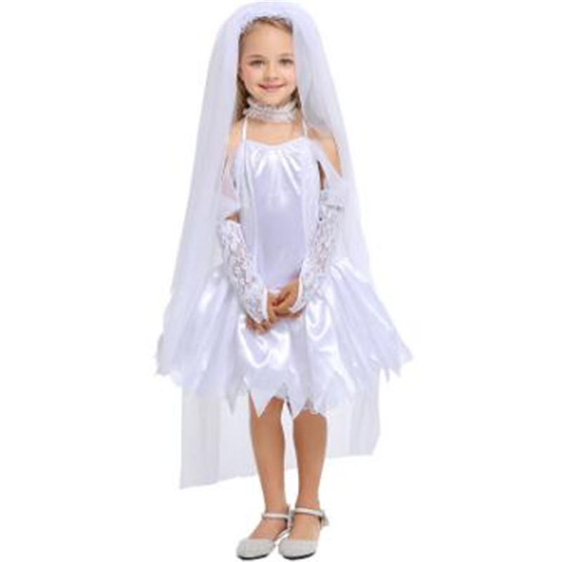 01dd6ed25 Nuevo patrón Halloween para niños Fantasma novia Princesa blanca pura falda  Ángel blanco Vestido completo Ropa para niños Traje de cosplay