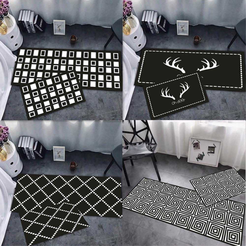 Peachy Rayuan Nordic Style Black And White Kitchen Floor Mats Geometric Door Mat Long Carpets Anti Slip Doormat Rug Multi Size Interior Design Ideas Pimpapslepicentreinfo