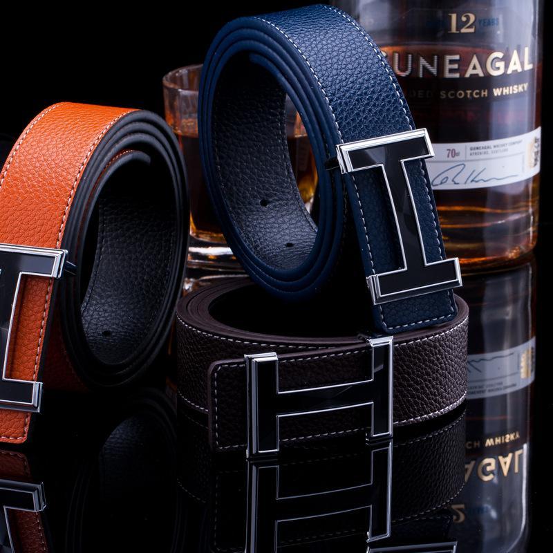 [Hotti] Marca 2017 Nueva Llegada de Lujo H Marca Hombres Cinturones de Diseño Mujeres de Alta Calidad Masculina Casual Genuino de Cuero Real H Hebilla
