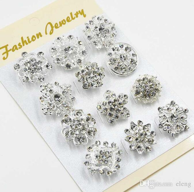 2018 Mixed Flower Crystal Silver Plated Alloy Brooches High Quality Fashion Wedding Cake Flower Pins Girls Pretty Collar Pins 107