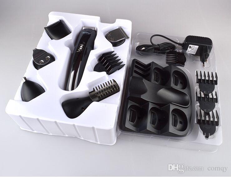Kemei km-600 professional 6 em 1 máquina de cortar cabelo elétrico trimmer hair clippers recarregável barbear barba barbear
