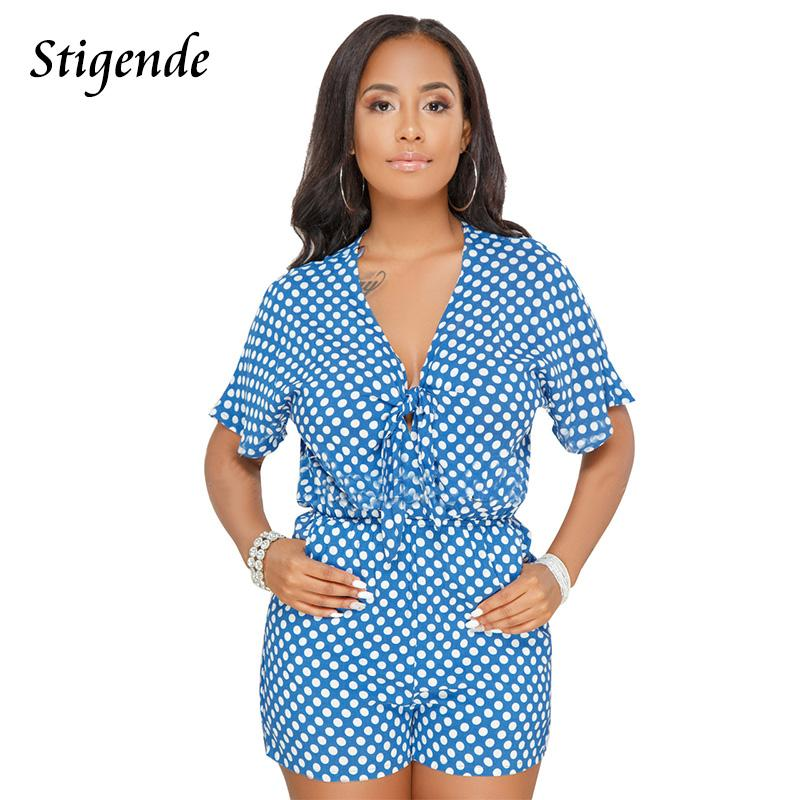 4531e3041591 2019 Stigende PLUS SIZE Polka Dot Jumpsuit Women Summer Short Romper Bow  Tie Deep V Neck Short Sleeve Casual Jumpsuit With Pockets From Lucycloth