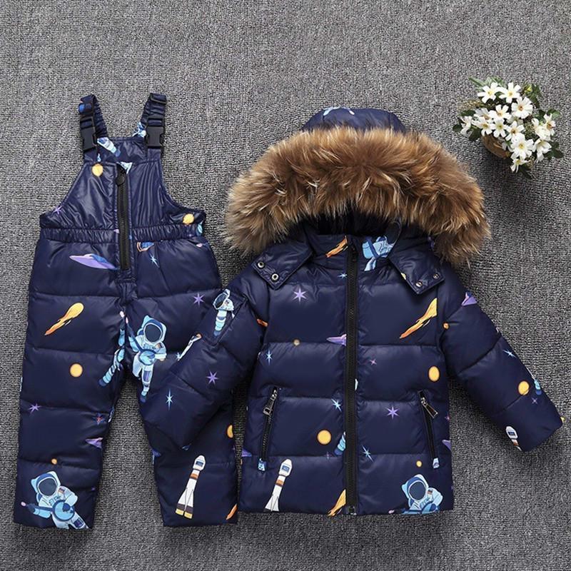 best loved 8bc27 97c1e Russia Inverno Caldo Piumino per Baby Girl Abbigliamento Bambino Set di  abbigliamento Ragazzi Parka Vera pelliccia Cappotto da neve Abbigliamento  da ...