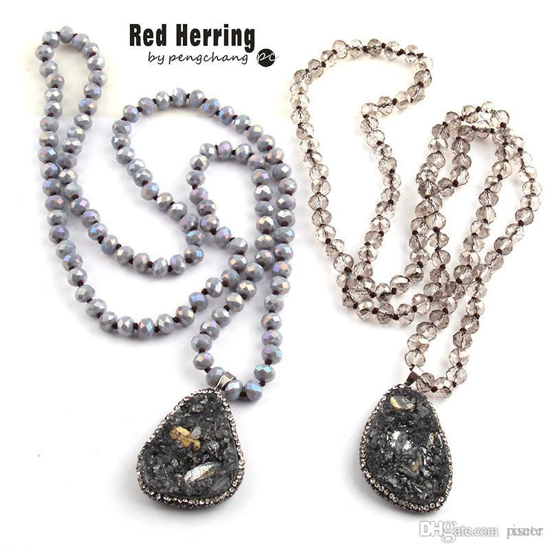 8118ac4bd 2019 Whole SaleFashion Bohemian Tribal Jewelry Gray Crystal Knotted  Halsband 5X8 Glass Crystal Natural Stone Necklace From Risete, $24.21 |  DHgate.Com