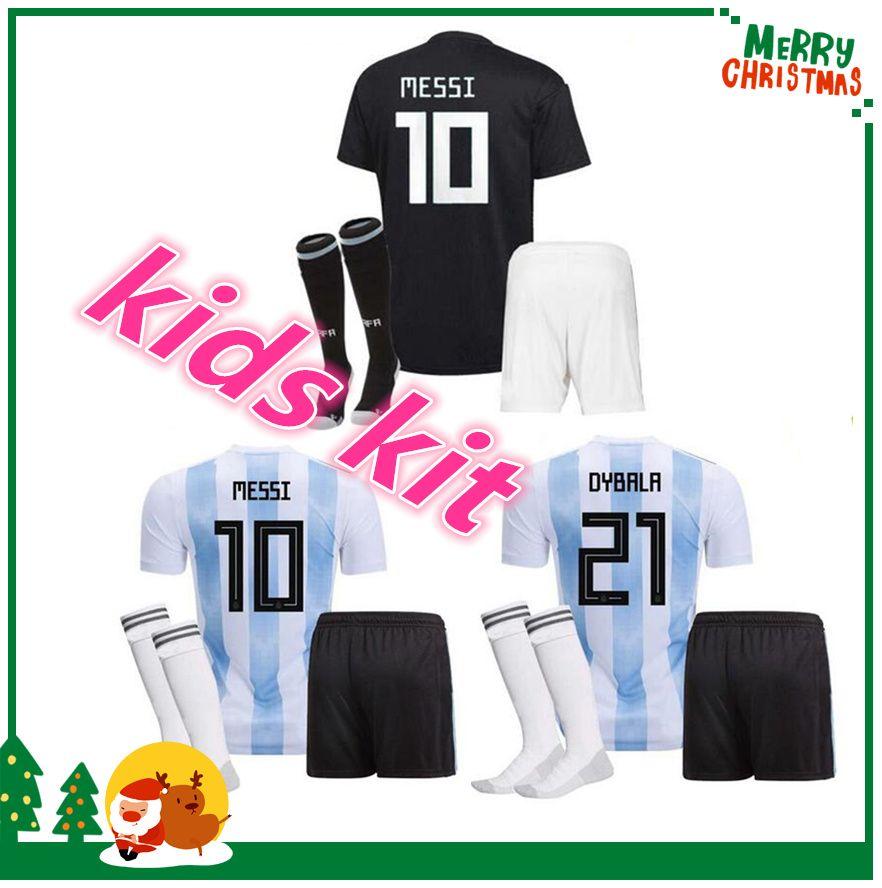 2018 Argentina Niños Jersey De Fútbol 2018 Argentina Kit Jersey Inicio  Dybala Camiseta De Fútbol Messi Aguero Di Maria Niño Camiseta De Fútbol  Uniforme Por ... dcc455891d706