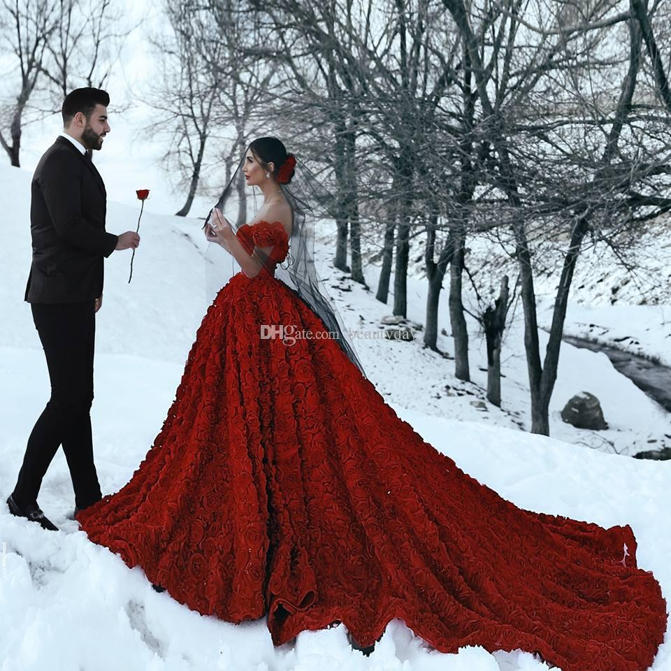 Discount 2019 Red Wedding Dresses With 3d Rose Flowers Cathedral Train Arabic Middle East Church Off Shoulder Backless Wedding Gown Said Mhamad Tea Length A Line Wedding Dress Wedding A Line Dresses