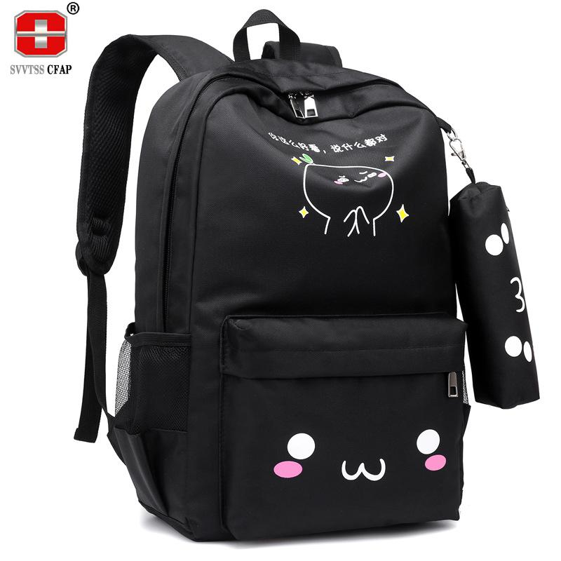 8bf47d6bc Mochila adolescente Niñas Mochilas escolares para adolescentes USB de gran  capacidad bolsa de libros de calidad mochila de nylon lindo gato mochila ...