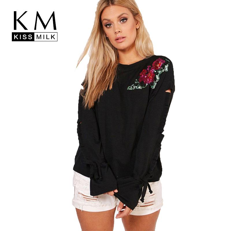 2f59d55c01f Kissmilk Women Plus Size Floral Sequin Sleeve Hole T Shirt Long Sleeve  Black Round Neck Basic Tops Large Size Casual T Shirt Awesome Cheap T Shirts  Online ...