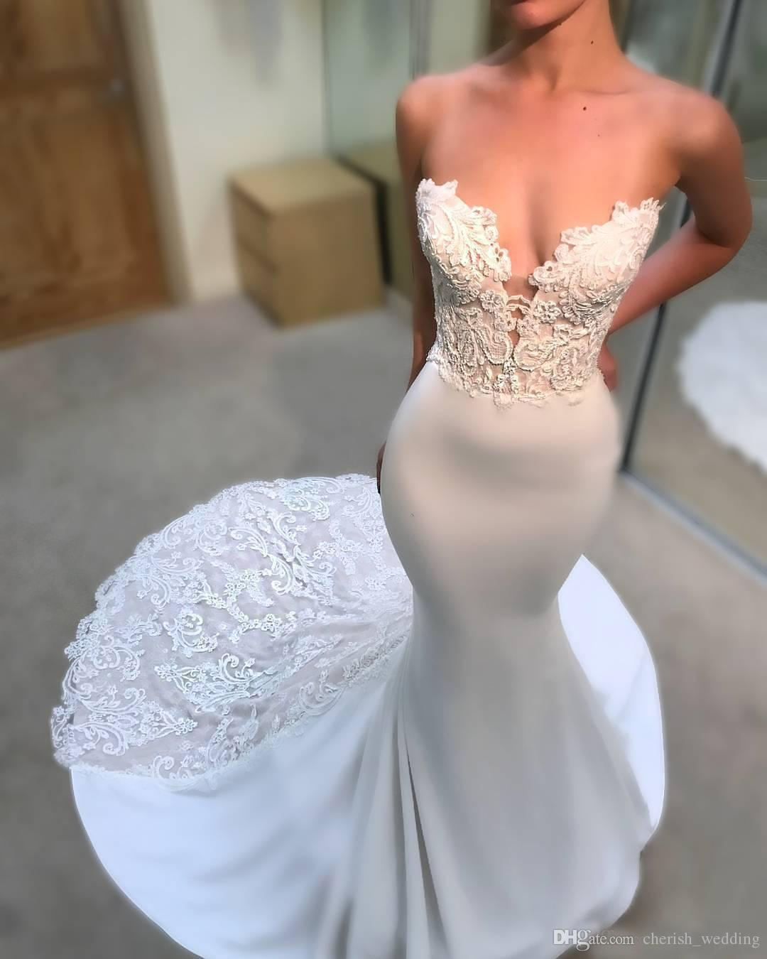 Sweetheart Mermaid Wedding Dresses 2018 Sexy With Open Back Lace Applique Backless Sweep Train Country Plus Size robe de mariée Bridal Gowns