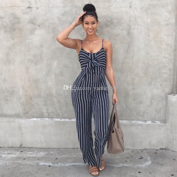 8145242ee1fa 2019 Women Sexy Bow Strap Striped Jumpsuit Wide Legs Summer Sleeveless  Backless Off Shoulder High Split Rompers Womens Jumpsuits From Yanhe168