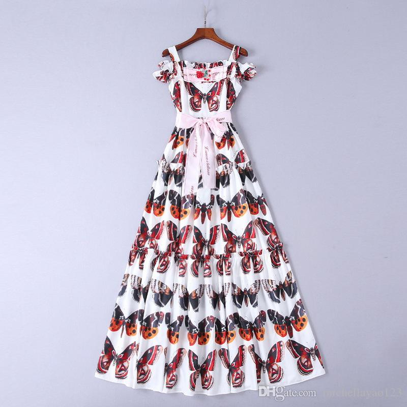 aeb48ce3b3f34 2018 White Spaghetti Straps butterfly print appliques Slash neck Long  Sleeves High Quality Runway Dress Women s dress 8122