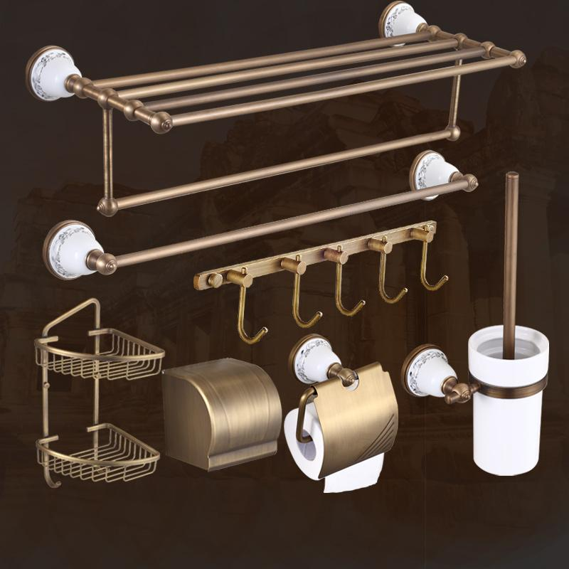 2018 American Copper Bronze Bathroom Accessories Vintage Brushed Ceramic Bathroom  Hardware Sets Wall Mount Products W35 1 From Baolv, $23.37 | Dhgate.Com