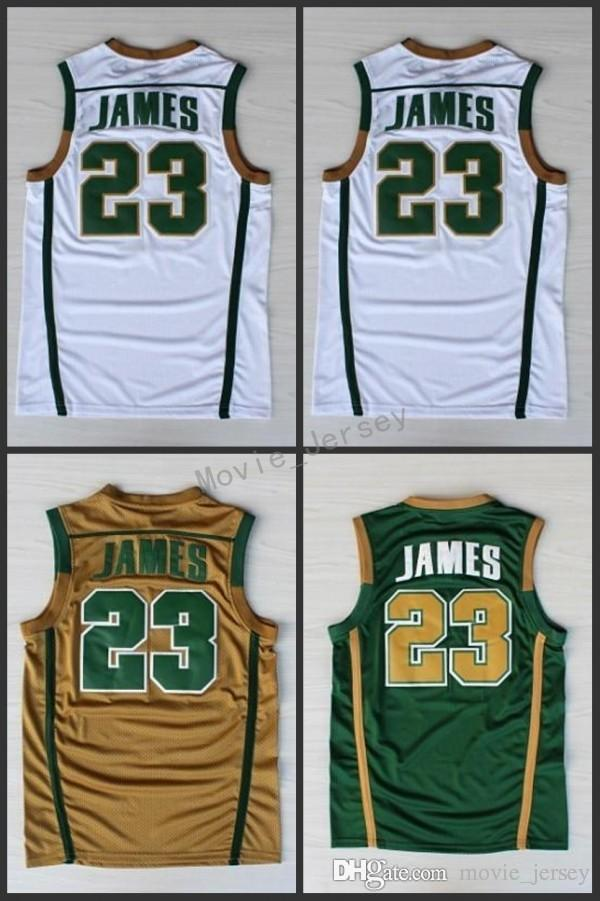 NCAA IRISH HIGH SCHOOL Green White 23 Lebron James Stitched Jerseys High Quality Embroidery Sportwear Shirt For Men S-XXL
