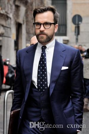 На заказ синие мужские костюмы 2018 свадебные смокинги для жениха Slim Fit формальные лучшие мужские пиджаки выпускного вечера жениха 3 шт. Куртка + брюки + жилет