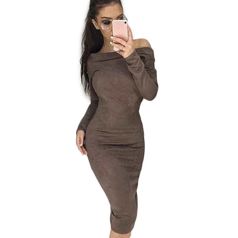 Women Sexy Plus Size Dress Winter Autumn Midi Knit Solid Robe Dress Long Sleeve Party Dresses