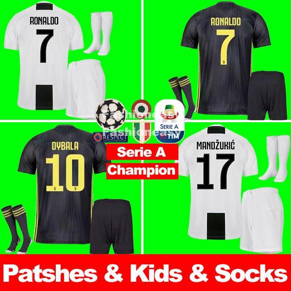 b03519f23 Juventus Soccer Jersey RONALDO DYBALA KIDS 2018 2019 Soccer Shirt 18 ...
