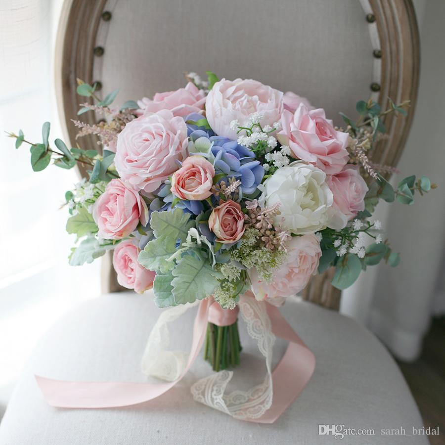 Wedding Flowers Cheap Online: Pink Blue Country Mori Cheap Bridal Bouquets 2020 Rose
