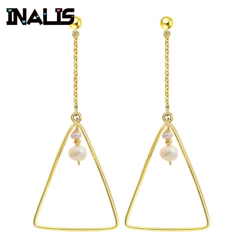 2019 Inalis New Fashion Simple Design Big Long Drop Earrings 925
