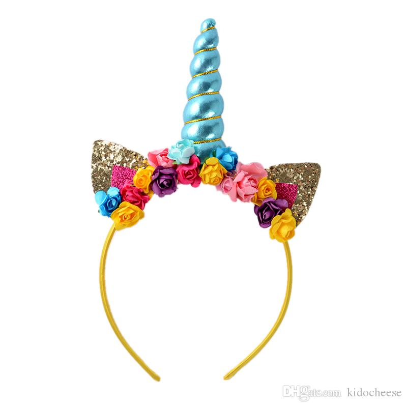 Blue Unicorn Horn Headband Cat Ears Hairband With Mini Paper Flowers Hair  Hoop For Kids Birthday Unicorn Party Childrens Hair Accessories Bows And  Hair ... 40b89842317