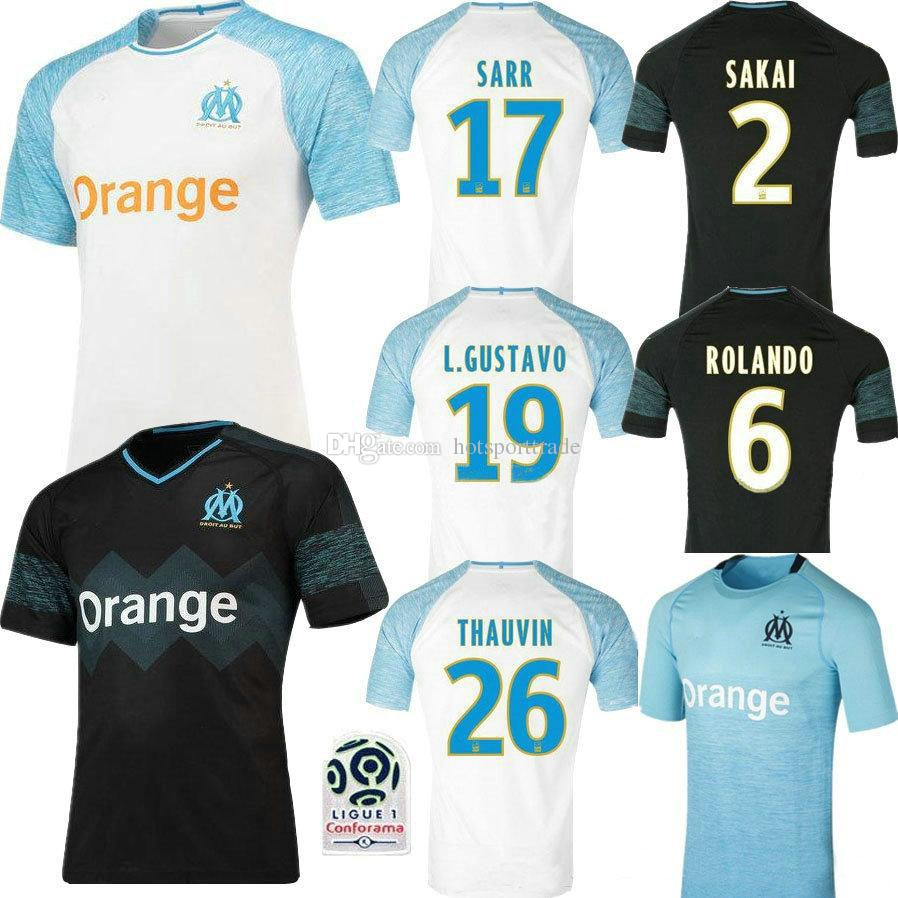 05cb42e60 2019 18 19 Olympique De Marseille White Home 3RD Soccer Jersey Thai Quality  GOMIS Away Black 2018 2019 Marseille Football Shirt PAYET SANSON From ...