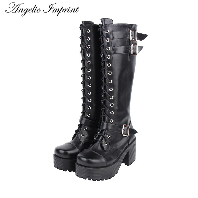 a1f82792d59 Hot Sale Lace Up Knee High Boots Buckle Straps Thick Platform High Heel  Punk Boots Rubber Boots Ski Boots From Croftte