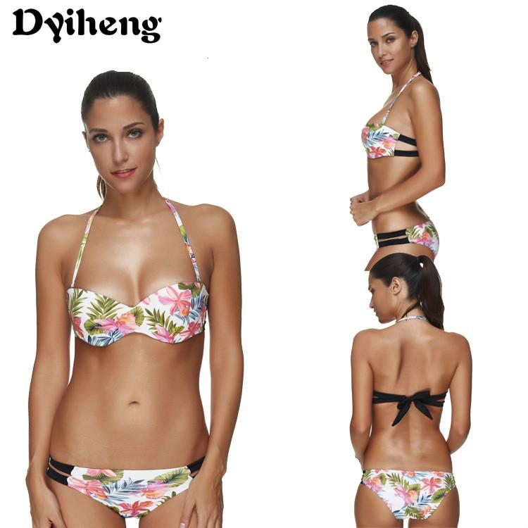 23fe606afca7d 2019 Dyiheng 2018 Bandeau Thong Bikini Set Swimsuit For Women Push Up Wrap  Swimwear Tanga Strappy Bow Top Bathing Suit Swimming Costume From Dyiheng