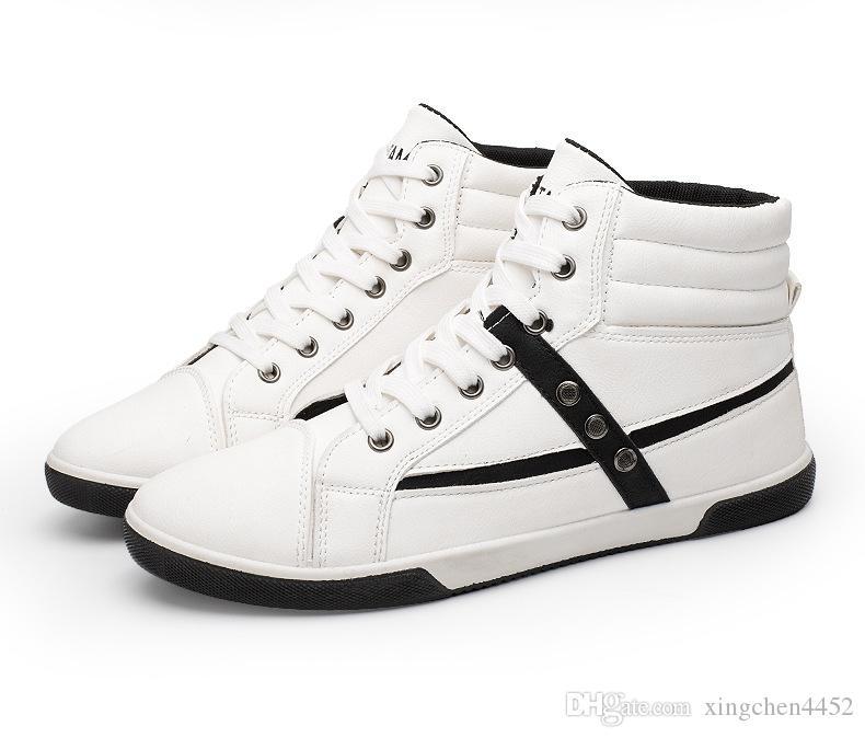 db50847ec8242 Satın Al Büyük Boy Erkek Ayakkabıları Moda Pu Dantel Yardımcı Olmak Için  Yüksek Iki Renk Vulkanize Ayakkabı Avrupa Ve Amerikan Erkek Ayakkabı Öğrenci  Spor, ...