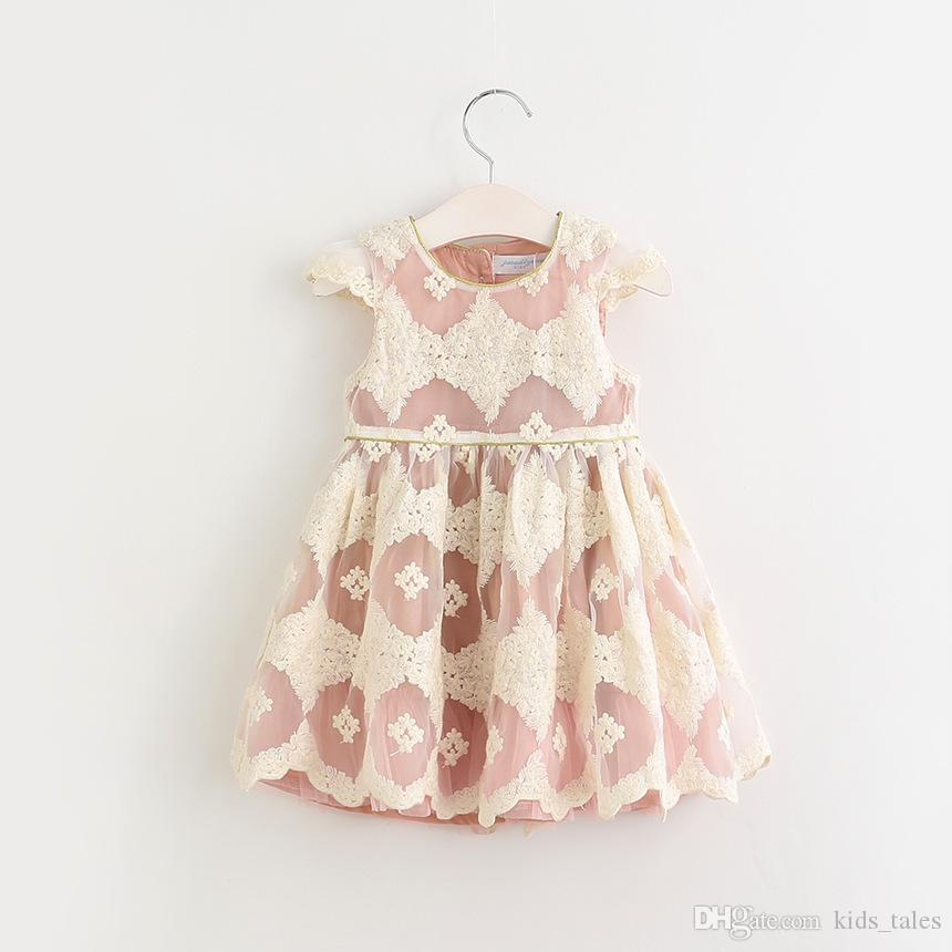 2018 New Korean children chiffon lace flower princess party dress baby girl fly sleeve summer frocks