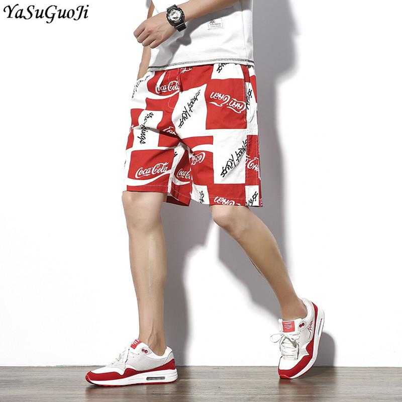 2019 New 2018 Summer Fashion Trends Leer Print Plaid Shorts Men
