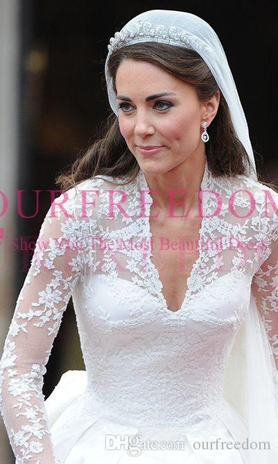 Princesse William et Kate Robes de mariée 2019 Rétro col en V manches longues en dentelle Une ligne Royal Church robe de mariée Custom Made Back Cover Button