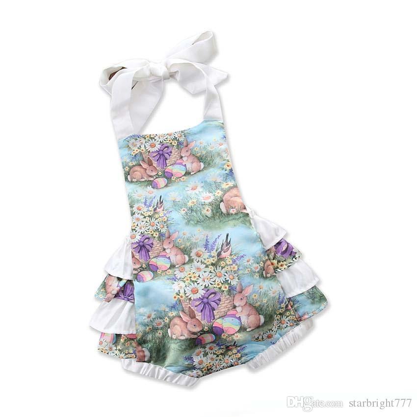 Toddler stampati floreali pagliaccetti infantili del fiore delle neonate delle tute bambini Estate Halter pagliaccetto che coprono i bambini
