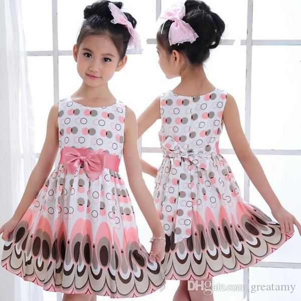 Sıcak satış çocuk hediyeler çocuklar kızlar için yay peacock elbise dokuzuncu pantolon tayt parti elbise bebek kız nokta prenses elbise