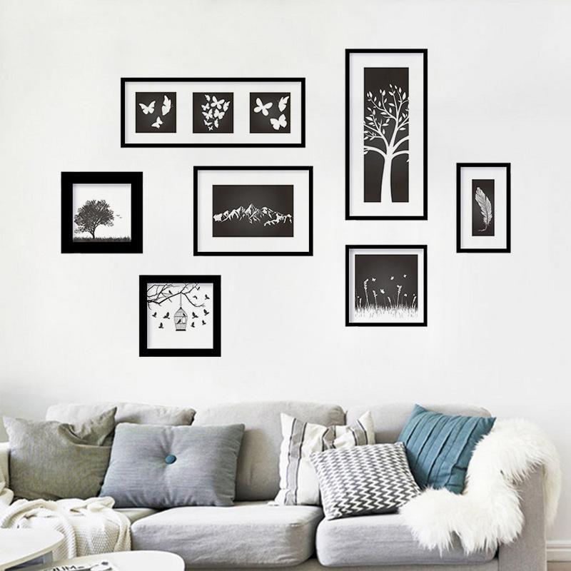 Acheter set artistique classique sticker mural decal d coratif vinyle murale cadre photos - Cadre decoratif pour salon ...