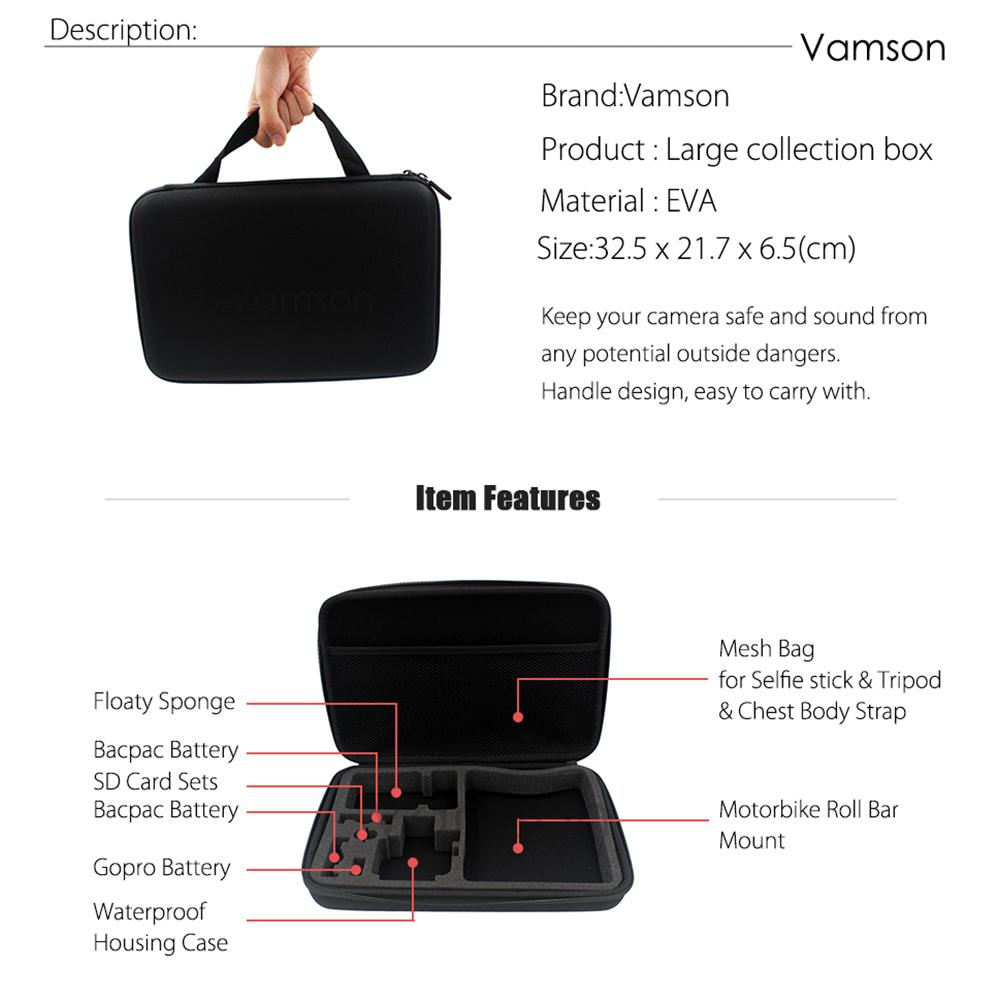 Vamson Accessories for GoPro Hero 6 5 4 3+ Set Suction Cup Adapter Collection Box Head Strap for Xiaomi Yi for SJ4000 VS122