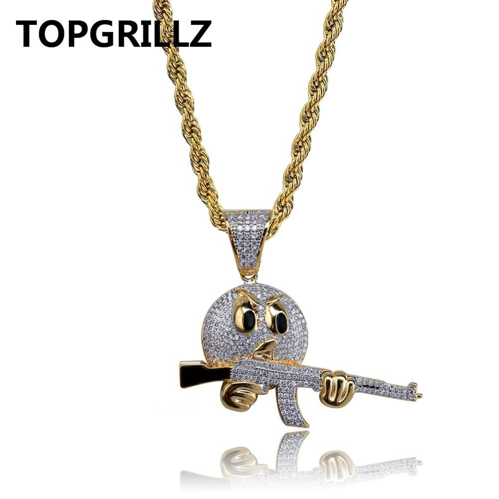 af72cbf0d5e Wholesale TOPGRILLZ Emoji Face Character With Gun Pendant Necklaces Charms  For Men Gold Color Cubic Zircon Hip Hop Jewelry Necklace Gifts Chunky  Necklaces ...
