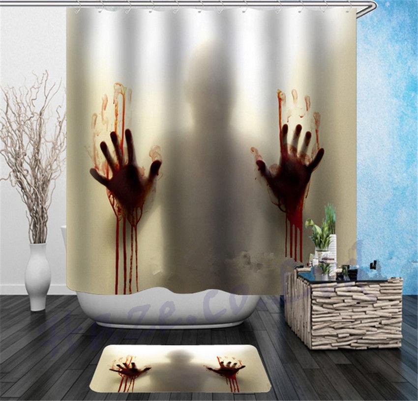 2019 Halloween Horror Bath Shower Curtain Bloody Hands Creepy Fun Creative Soft From Hariold 272