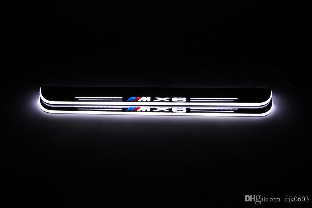 Waterproof Acrylic Moving LED Welcome Pedal Car Scuff Plate Pedal Door Sill Pathway Light For BMW X6 E71 2010 - 2015