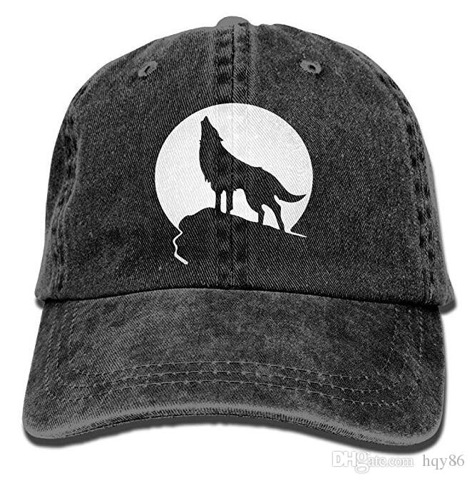 Howling Wolf Moon Logo Adult Cowboy Hat Baseball Cap Adjustable ... e9b2e70be3c0