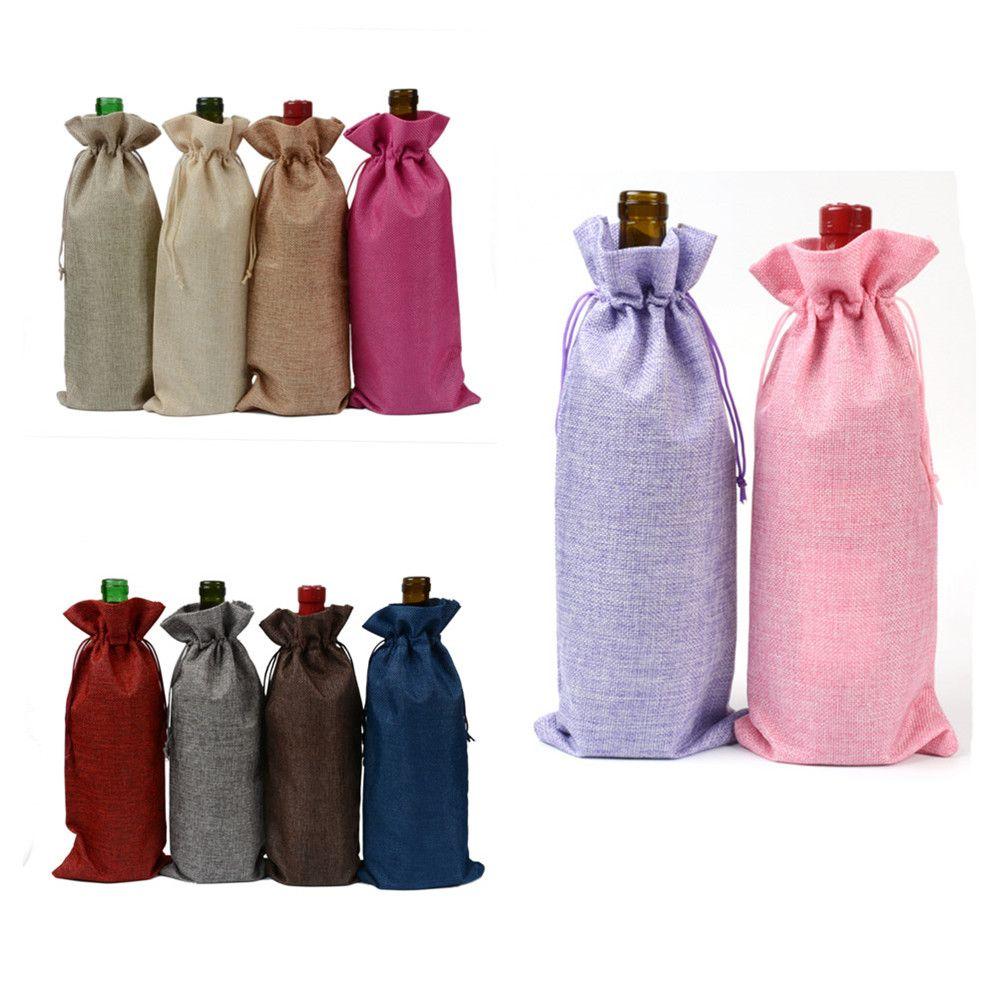 Bolsas para botellas de vino Champagne Fundas para botellas de vino Bolsa de regalo de arpillera Bolsa de embalaje Decoración para el banquete de bodas Bolsas para vinos Funda con cordón
