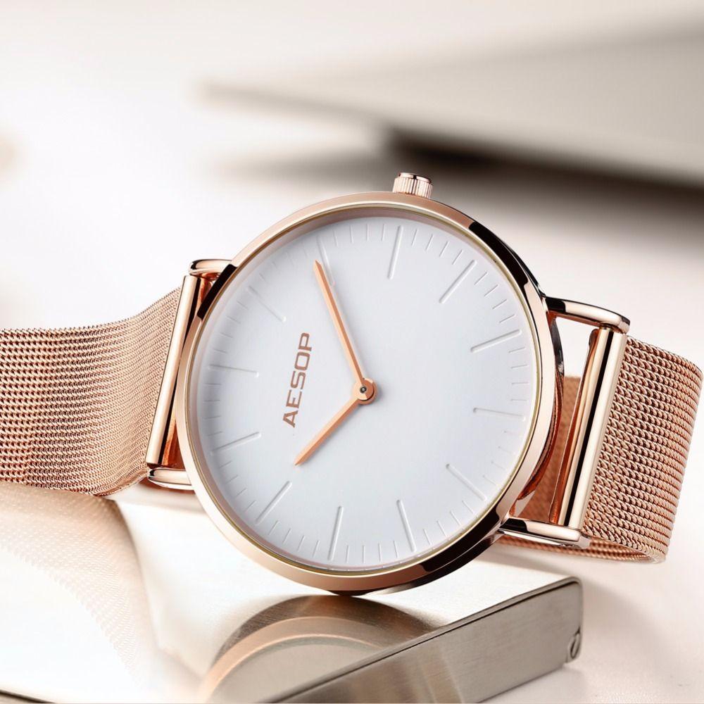 8e0dbd27ed2 Compre Aesop Marca De Luxo Mulheres Relógios Ultra Fina Moda Pulseira De  Aço Ouro Ladies Dress Relógio De Quartzo Relogio Feminino Montre Femme  Y1890304 De ...