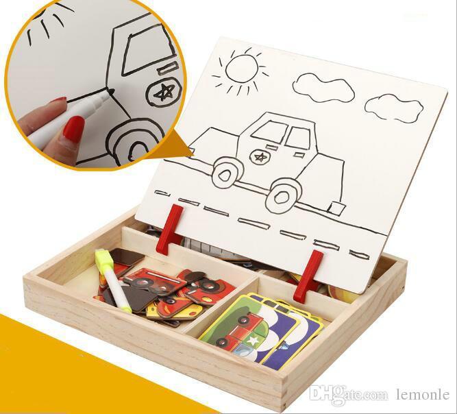 Crianças multifuncionais de madeira animal quebra-cabeça de escrita placa de desenho magnético lousa aprendizagem educação brinquedos para crianças