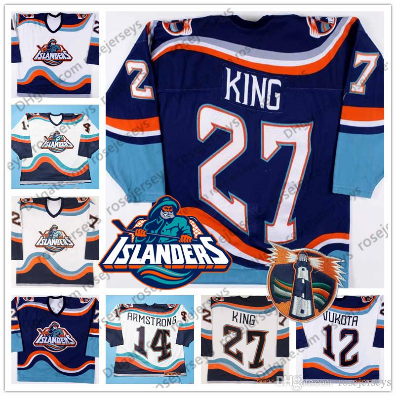2019 New York Islanders Fisherman 27 Derek King 14 Derek Armstrong