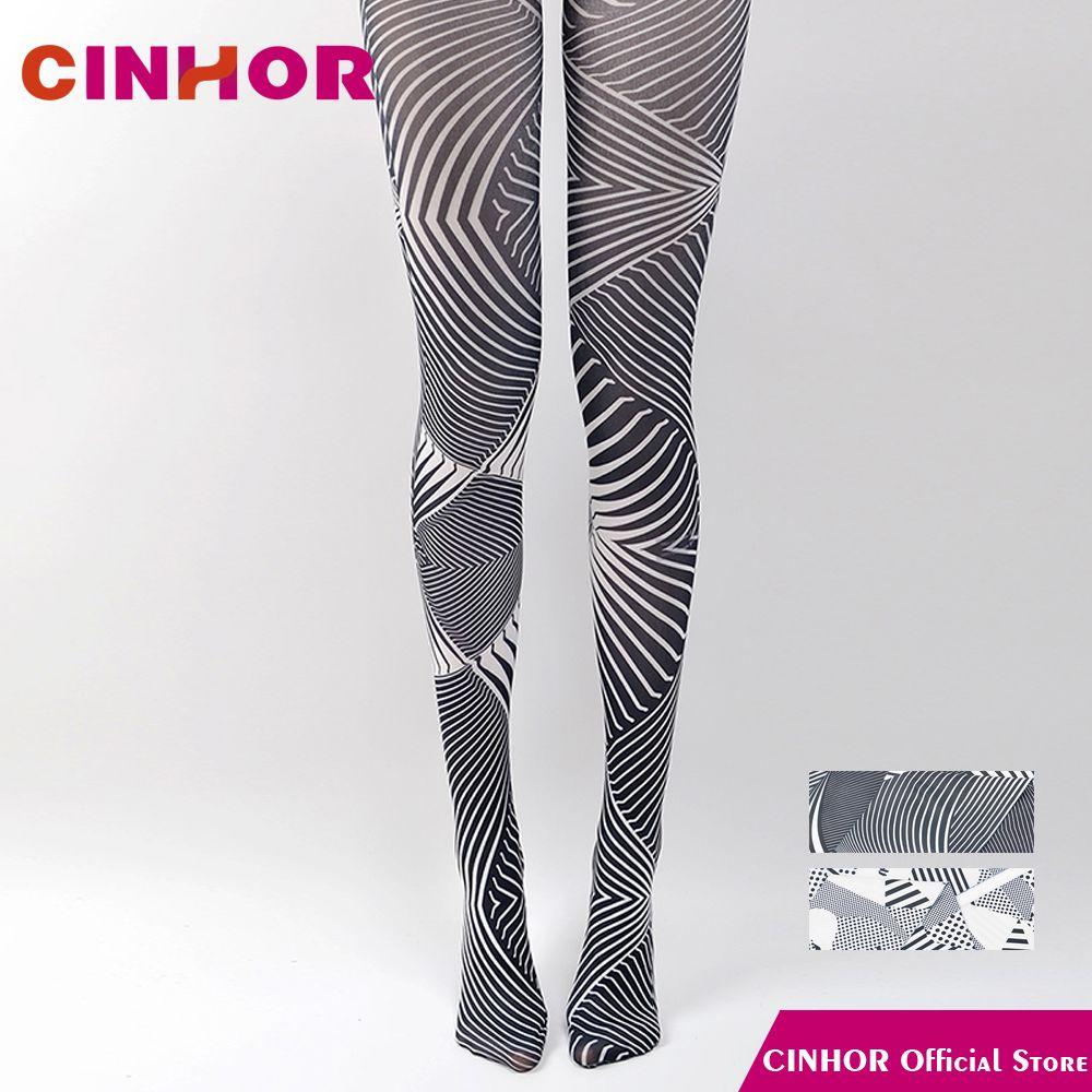 2018 Cinhor Design Blackwhite Stripe Gradient Vintage Printing Pantyhose Jacquard Leg Slimming Hips Molding Breathable Elastic Tight From Vickay