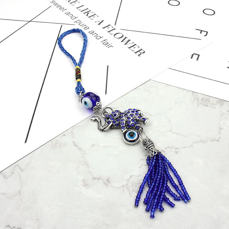 2017 Fashion Evil eye keychain Lucky Elephant Decor Home Hanging Hanging Evil Eye Bead Wall pendente auto per gioielli