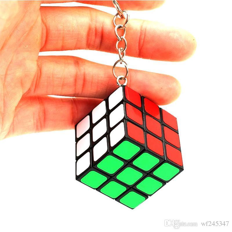 Schlüsselanhänger Fabrik direkt verkäufe Schlüsselbund Rubik cube 3 cm Puzzle Magie Spiel Spielzeug Schlüssel Opp Tasche Packakge IQ Lernspielzeug Geschenk