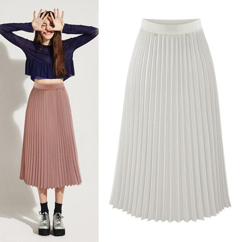 c973989dc 2019 Women Skirts Autumn Summer Style Female High Waist Pleated Mid Calf Length  Skirt Hot Fashion Thick Breathble High Quality Faldas From Wanglon08, ...