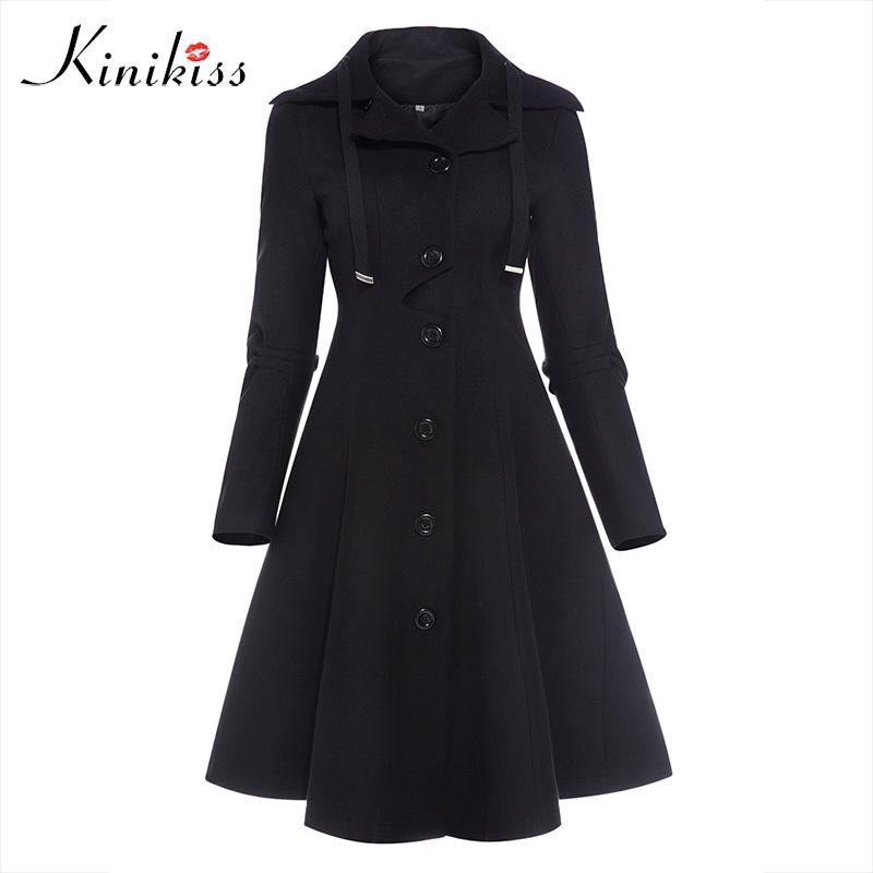low priced d89bc 01741 Kinikiss Fashion Lange Mittelalterliche Trenchcoat Frauen Winter Schwarz  Stehkragen Gothic Mantel Elegante Frauen Mantel Vintage Weibliche 2018 ...