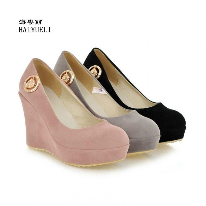 7ba333c04758 Mujeres Bombas Zapatos de cuña de tacón alto Mujeres Vestido sexy Calzado  Moda Señora Bombas Femeninas Venta caliente EUR Tamaño 35-43
